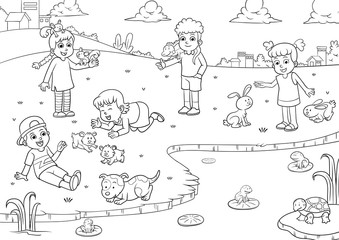 child and pet cartoon for coloring