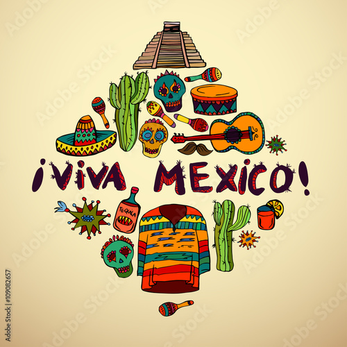 """""""Seamless pattern with mexican symbols - Viva Mexico ..."""
