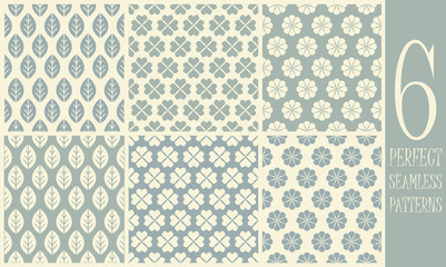 6 Vector seamless patterns with flowers and leaves
