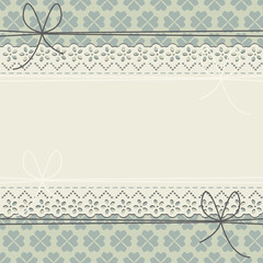 Decorative lace frame with blue flowers on green background