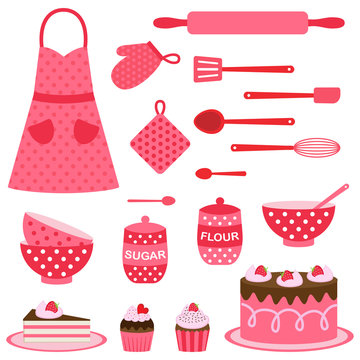Vector icons collection on baking theme