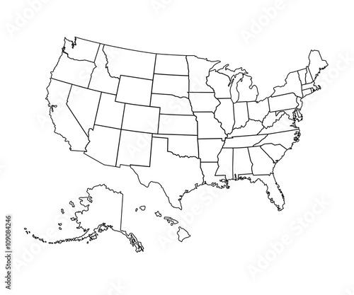 USA map - vector illustration.\