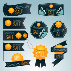 Summer sale different badges, banners and labels.