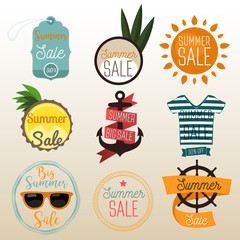 Summer sale flat badges, banners and labels.