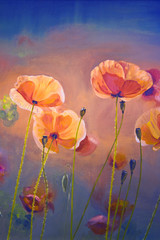 Oil  painting red poppy  flowers.  Spring  floral nature backgro