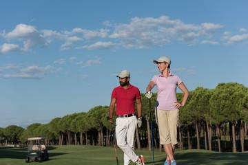 portrait of couple on golf course