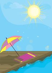 Vacation summer card. Beach umbrella, sun and sea