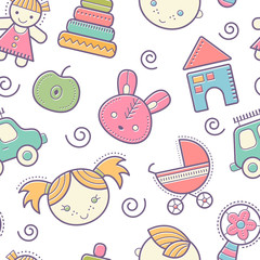 Seamless baby pattern with colorful babyish toys