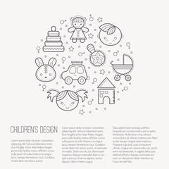 Vector illustration with outlined children's icons forming a circle