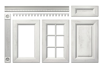Front collection of old wooden door, drawer, column, cornice for kitchen cabinet isolated on white