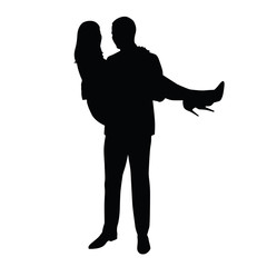 Man carries woman in his arms. Vector silhouette of the happy co