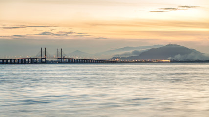 Amazing Sunrise and Sunset in Penang Bridge, George Town, Penang Malaysia