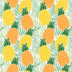 Tropical summer seamless pattern. Pineapple  fruit, palm leaves. Hawaii flat design. Vector