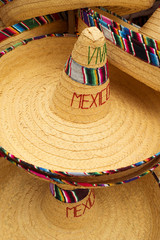Display of mexican hats with viva mexico text