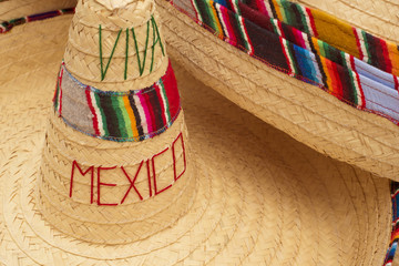 Traditional mexican sombrero straw hat close up