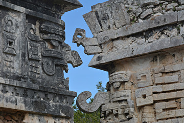 Part of temple of reliefs in Chichen Itza.