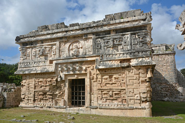 Church and temple of reliefs in Chichen Itza.