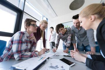 top  view of business people group brainstorming on meeting