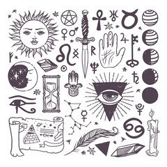 Set of trendy vector esoteric symbols collection sketch hand drawn