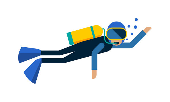 Scuba diver isolated equipment water sport activity vacation leisure vector illustration.