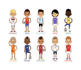 Football team sport soccer players group vector illustration.