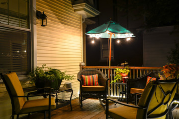 Sitting outside on a deck on a summer evening