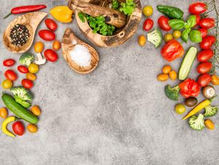 Fresh vegetables herbs Food background Healthy nutrition