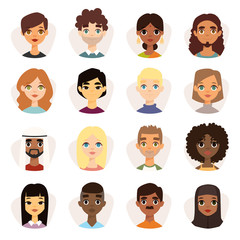 Set of diverse round avatars with facial features different nationalities, clothes and hairstyles.