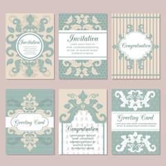 Set of wedding invitation card design flyer pages ornament vector concept.