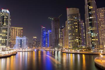Night city skyline in Marina district, Dubai