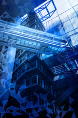 smart building and mesh network, abstract image visual