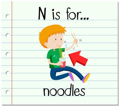 Flashcard letter N is for noodles