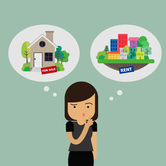 Real Estate Concept. Ypung Woman thinking abount Real Estate. Vector illustration