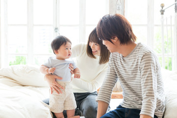 portrait of young asian family lifestyle image