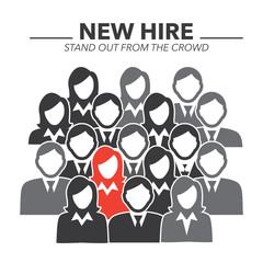 New Hire Button Portraying Different People with Men and Women in Suits and One Person Standing Out as the Person who got Hired