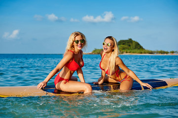 Pretty female friends having fun on a surfboard in the sea