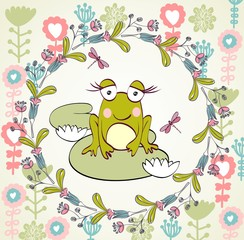 Stylish floral background with cartoon frog in light colors.