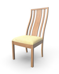 3d rendering wood chair isolated on white background