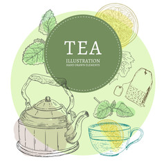 Tea party elements hand drawn vintage