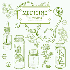 Herbal medicine hand drawn elements