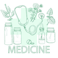 Herbal medicine alternative medicine concept hand drawn elements