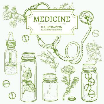 Herbal medicine hand drawn elements