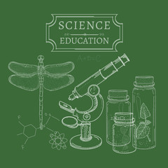 Science and education blackboard concept study sketch hand drawn