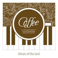 Coffee - soul music cup of coffee on the piano hand drawn vector