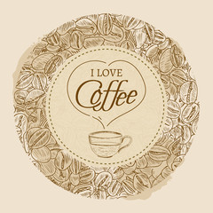 I love coffee vector template hand drawn vintage sketch