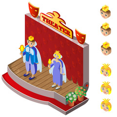 King and Queen on theater stage. Heads with different facial expressions. Isometric icon set. Vector illustration.