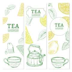 Tea banners hand drawn elements vintage tempate