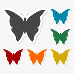 Multicolored paper stickers - Butterfly icon