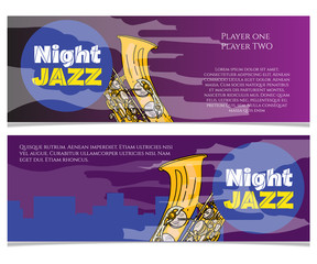 Jazz night saxophone music poster jazz banner jazz festival