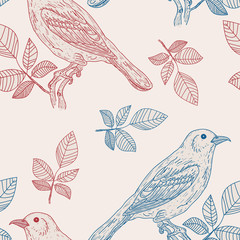 Vector seamless pattern birds